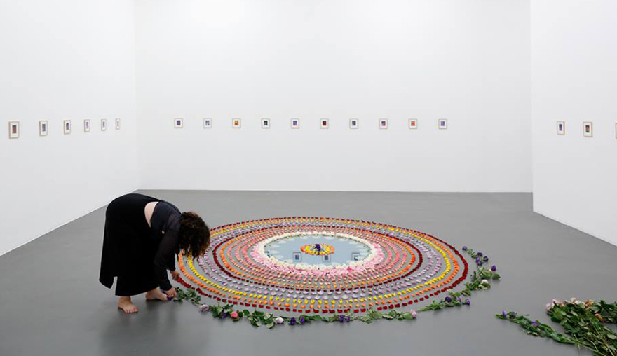 "Performance of the ""Rose Mandala of Three Reflections"" by Chrysanne Stathacos_ photo credit"