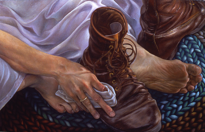 """Boots"", oil on linen, 16"" x 24"", 1981"