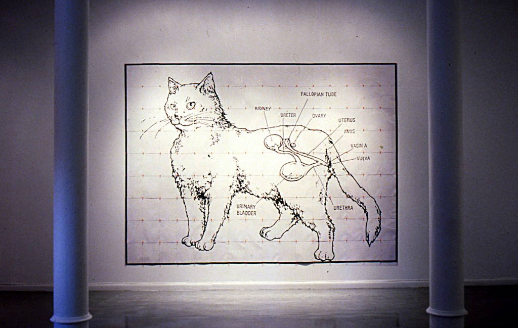 """Read My Pussy"", Xerox on paper, push pins, vinyl report covers, 12"" x 144"", 1990. Solo show at Souyun Yi Gallery, NYC"