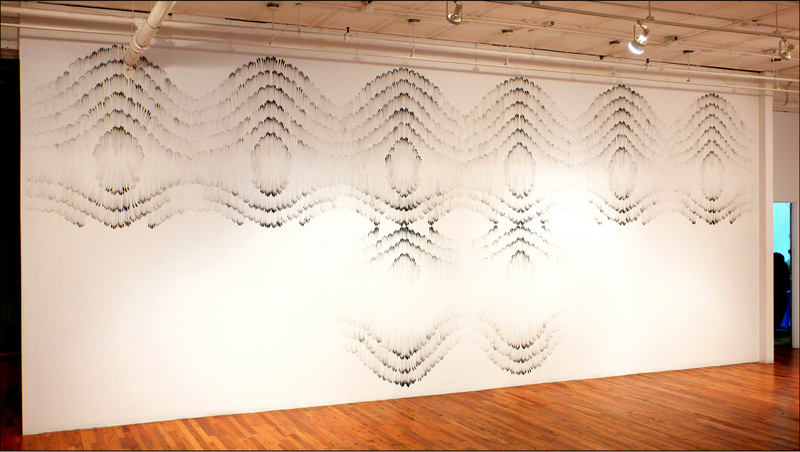 "9)""Fingering #1"", Charcoal fingering on wall, 12' x 30', 2009 at Artists Space, NYC.  The first Fingering."