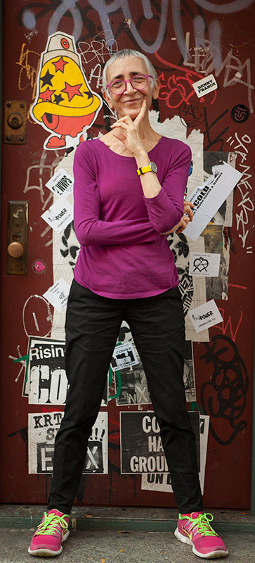 Judith Braun photographed in front of her studio door, November 2013 © 2013 by Susan Silas