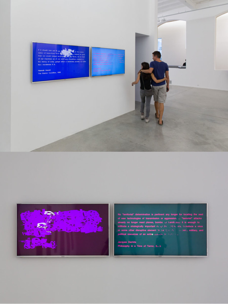 "If it should turn out to be true, 2014. Two video loops on adjacent screens: 00:04:17; 00:02:48. Commissioned for the exhibition ""A letter always arrives at its destinations,"" curated by Sebastién Pluot for La Panacée, Montpellier, France, 2014.Views of installation."