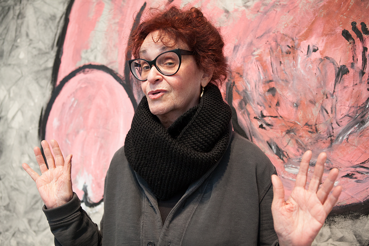 Judith Bernstein photographed at Mary Boone gallery during Dicks of Death which ran from 9 January to 27 February © 2016 by Susan Silas